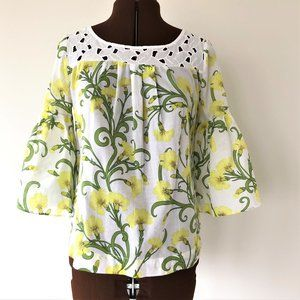 Cheery Floral Print Cotton Top